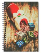 Rustic Red Xmas Stocking Spiral Notebook