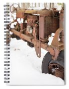 Rusty Old Steel Wheel Tractor In The Snow Tilt Shift Spiral Notebook