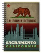 Sacramento City Skyline State Flag Of California Art Poster Series 023 Spiral Notebook