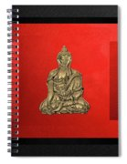 Sacred Symbols - Gold Buddha On Black And Red  Spiral Notebook