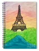Saffron Sunset Over Eiffel Tower In Paris-watercolour  Spiral Notebook