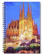 Sagrada Familia At Night Spiral Notebook