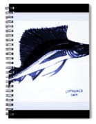 Sail Fish In Black And White Watercolor Spiral Notebook
