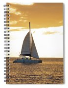Sailboat Sailing Off Of Anse Chastanet At Sunset Saint Lucia Caribbean  Spiral Notebook