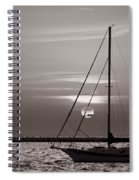 Sailboat Sunrise In B And W Spiral Notebook