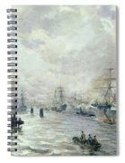 Sailing Ships In The Port Of Hamburg Spiral Notebook