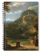 Saint Anthony Of Padua Introducing Two Novices To Friars In A Mountainous Landscape Spiral Notebook