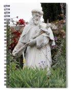 Saint Francis Statue In Carmel Mission Garden Spiral Notebook