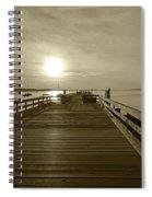 Salem Willows Pier At Sunrise Sepia Spiral Notebook