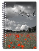 Salute To The Brave - P51 Flying Over Poppy Field Spiral Notebook