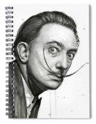 Salvador Dali Portrait Black And White Watercolor Spiral Notebook