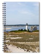 Sandy Neck Lighthouse With Fishing Boat Spiral Notebook