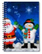 Santa And Frosty Painting Image With Canvased Texture Spiral Notebook