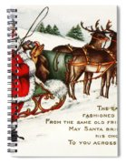Santa And His Reindeer Greetings Merry Christmas Spiral Notebook