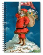 Santa Standing On The Globe Spiral Notebook