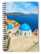 Santorini Oia Church Caldera View Digital Painting Spiral Notebook