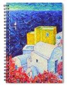Santorini Oia Colors Modern Impressionist Impasto Palette Knife Oil Painting By Ana Maria Edulescu Spiral Notebook