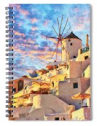 Santorini Windmill At Oia Digital Painting Spiral Notebook