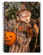 Scarecrow With A Carved Pumpkin  In A Corn Field Spiral Notebook