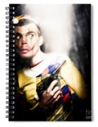 Scary Clown Standing In Shadows With Smoking Gun Spiral Notebook