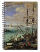 Scene Of A Sea Port Spiral Notebook