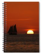 Schooner In Red Sunset Spiral Notebook