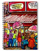 Schwartz's Deli Rainy Day Line-up Umbrella Paintings Montreal Memories April Showers Carole Spandau  Spiral Notebook