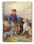 Scottish Boy With Wolfhounds In A Highland Landscape Spiral Notebook