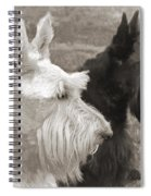 Scottish Terrier Dogs In Sepia Spiral Notebook