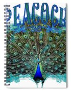 Scroll Swirl Art Deco Nouveau Peacock W Tail Feathers Spread Spiral Notebook