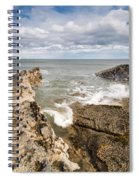 Sea Meets Rocks At Howick Spiral Notebook