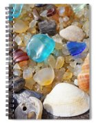 Sea Shells Art Prints Blue Seaglass Sea Glass Coastal Spiral Notebook