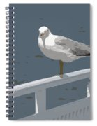 Seagull On The Rail Spiral Notebook