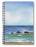Seascape With Three Rocks Spiral Notebook