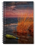 Seaside Bottle At Sunset Spiral Notebook