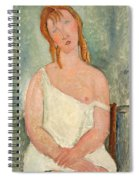 Seated Young Girl In A Shirt Spiral Notebook