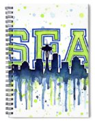 Seattle Watercolor 12th Man Art Painting Space Needle Go Seahawks Spiral Notebook