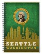 Seattle City Skyline State Flag Of Washington Art Poster Series 017 Spiral Notebook
