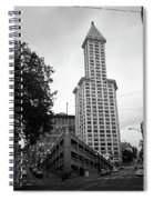 Seattle - Pioneer Square Tower Bw Spiral Notebook