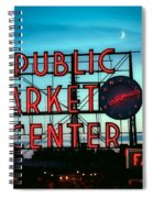 Seattle's Public Market Center At Sunset Spiral Notebook