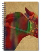 Secretariat Horse Race Watercolor Portrait Spiral Notebook