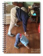 Self Portrait 8 - Downward Dog With Grandson Max On His 2nd Birthday Spiral Notebook