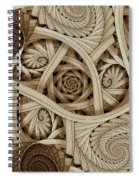 Sepia Swirls Fractal Art Spiral Notebook