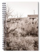 Sepia-toned Blooming Almond Trees Of Fikardou Village 1 Spiral Notebook