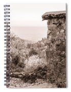 Sepia-toned Fikardou Village Scene 1 Spiral Notebook