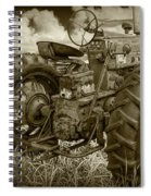 Sepia Toned Old Farmall Tractor In A Grassy Field Spiral Notebook