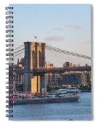 Setting Sun On Brooklyn Bridge Spiral Notebook