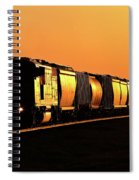 Setting Sun Reflecting Off Train And Track Spiral Notebook