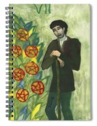 Seven Of Pentacles Illustrated Spiral Notebook