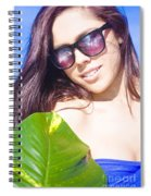 Sexy Beach Girl With Leaf Spiral Notebook